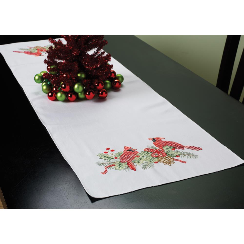 click here to view larger image of Cardinals Stamped Table Runner (stamped cross stitch)