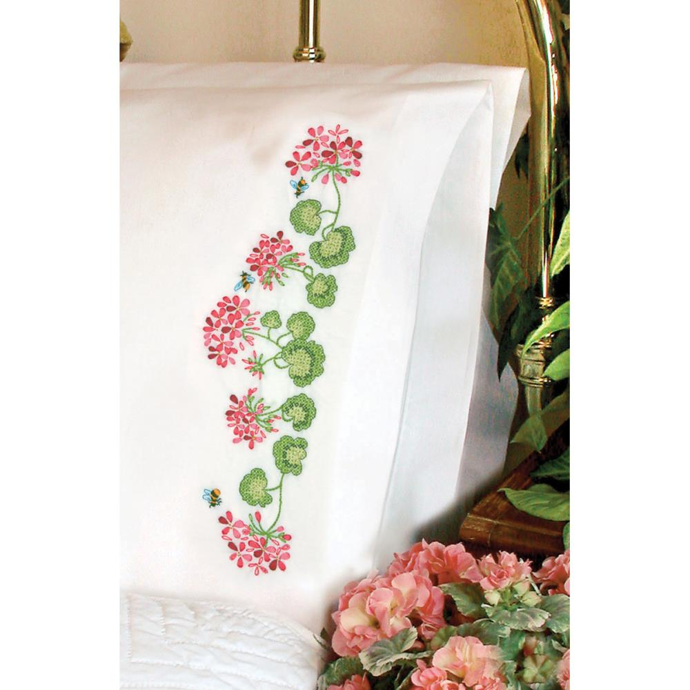 click here to view larger image of Summer Geraniums Pillowcase Pair (stamped cross stitch)