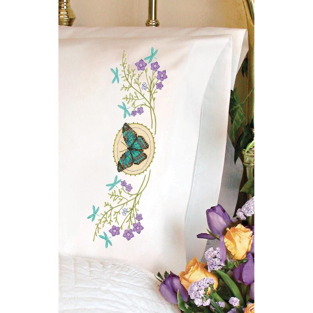 click here to view larger image of Butterfly Meadow Pillowcase Pair (stamped cross stitch)