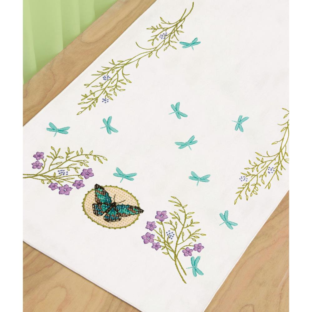 click here to view larger image of Butterfly Meadow Dresser Scarf (stamped cross stitch)