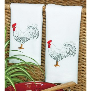 click here to view larger image of Rooster Guest Towels  (stamped cross stitch)