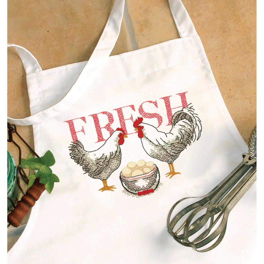 click here to view larger image of Rooster Apron (stamped cross stitch)