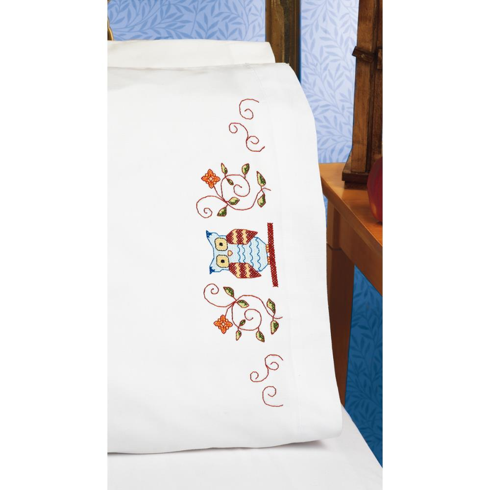 click here to view larger image of Owl Pillowcase Pair (stamped cross stitch)