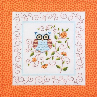 click here to view larger image of Owl Quilt Blocks (stamped cross stitch)