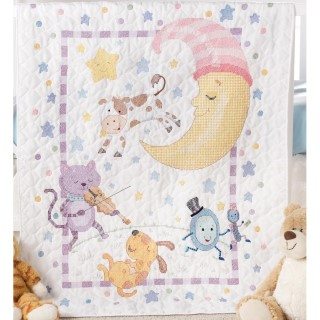 click here to view larger image of Hey Diddle Diddle Crib Cover (stamped cross stitch kit)