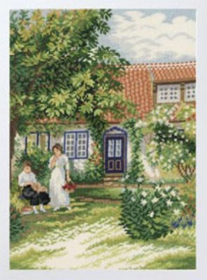 click here to view larger image of Ladies in the Garden (28ct) (counted cross stitch kit)
