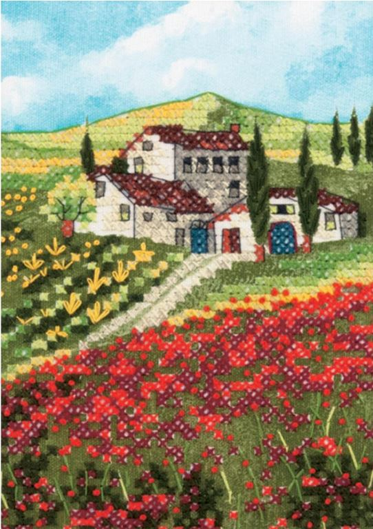 click here to view larger image of Poppy  Fields (stamped cross stitch)