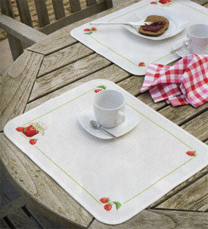 click here to view larger image of Strawberry Jam Placemats (counted cross stitch kit)