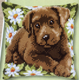 click here to view larger image of Labrador Puppy in a Field of Daisies (counted cross stitch kit)