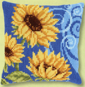 click here to view larger image of Sunflowers of Blue I (counted cross stitch kit)