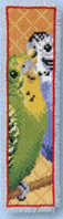 click here to view larger image of Budgies Bookmark (counted cross stitch kit)