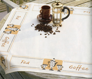 click here to view larger image of Tea and Coffee Tablecloth (counted cross stitch kit)