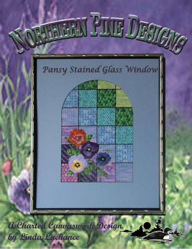 click here to view larger image of Pansies Stained Glass (counted canvas chart)