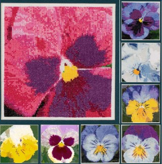 click here to view larger image of Pansy Portraits in Cross Stitch (chart)
