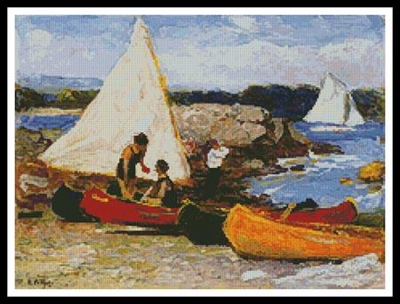 click here to view larger image of Canoes and Sailboats  (Edward Potthast) (chart)