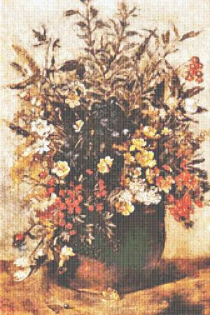 click here to view larger image of Autumn Berries and Flowers in Brown Pot (chart)