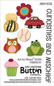 click here to view larger image of Curiosities and Mishief Button Card (buttons)