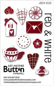 click here to view larger image of Red & White  - Button Card (buttons)