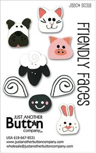 click here to view larger image of Friendly Faces  - Button Card (buttons)