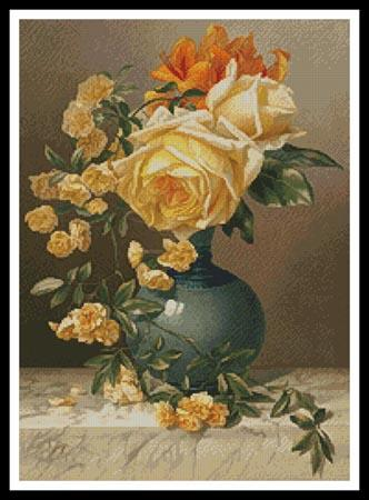 click here to view larger image of Yellow Roses in a Vase  (William Duffield) (chart)