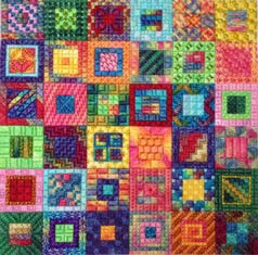click here to view larger image of Calypso Squares (counted canvas chart)