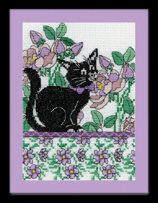 click here to view larger image of Lilac Floral Cat (counted cross stitch kit)