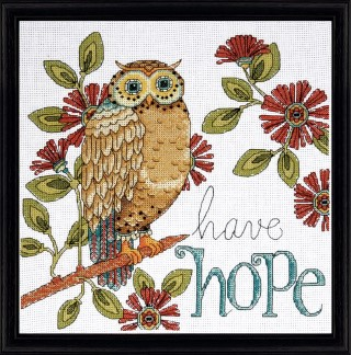 click here to view larger image of Hope Owl (counted cross stitch kit)