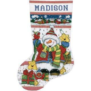 click here to view larger image of Snowman Fun Stocking (counted cross stitch kit)