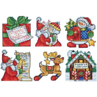 click here to view larger image of Santa's Workshop Ornaments (counted cross stitch kit)