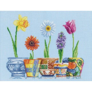 click here to view larger image of Flower Pots (counted cross stitch kit)