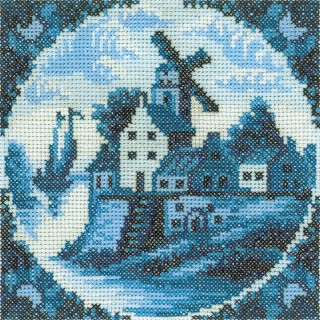 click here to view larger image of Antique Dutch Tiles Windmill I (counted cross stitch kit)