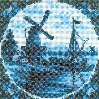 click here to view larger image of Antique Dutch Tiles Windmill Ii (counted cross stitch kit)