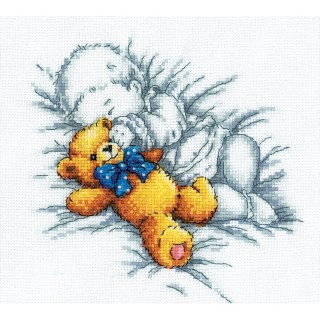 click here to view larger image of Baby With Teddy Bear (counted cross stitch kit)
