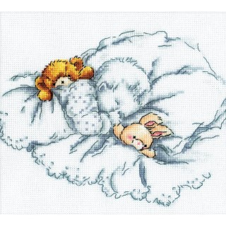 click here to view larger image of Baby With Rabbit and Teddy Bear 2 (counted cross stitch kit)