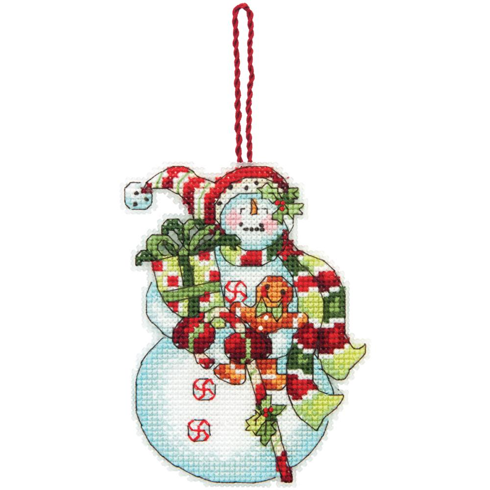 click here to view larger image of Snowman W/Sweets Ornament (counted cross stitch kit)