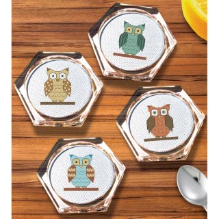 click here to view larger image of Owl Coaster Set (counted cross stitch kit)