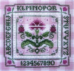 click here to view larger image of Tiny Pink Carnation Alphabet Sampler (chart)
