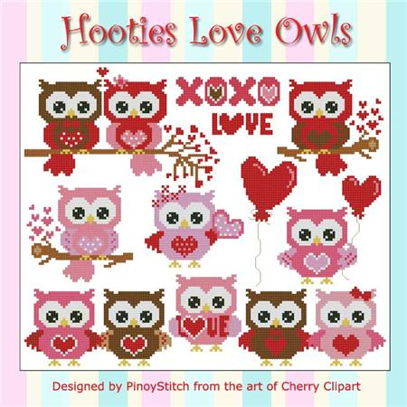 click here to view larger image of Hooties Love Owls (chart)