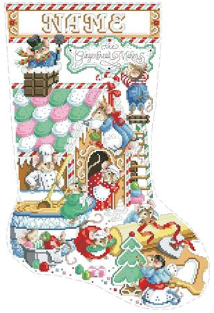 click here to view larger image of Gingerbread Mice Stocking (chart)