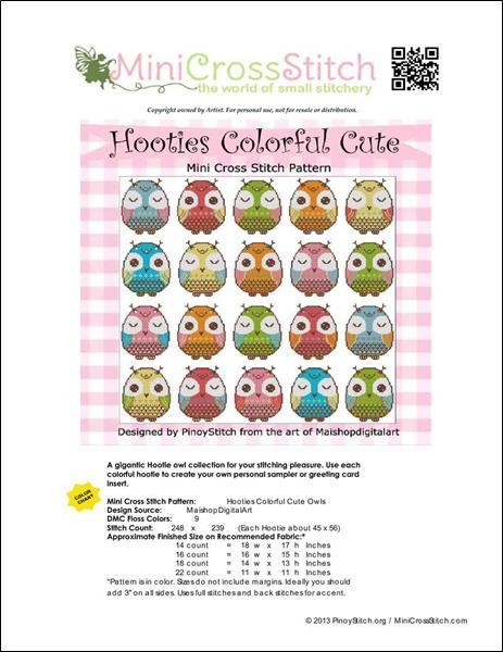 click here to view larger image of Hooties Colorful Cute Owls (chart)