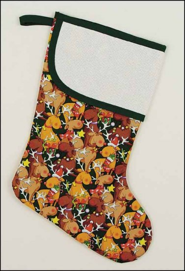 click here to view larger image of Large Green Jolly Reindeer Stocking with Trim (stitchable)