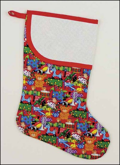 click here to view larger image of Large Red Christmas Toys Stocking with Trim (stitchable)