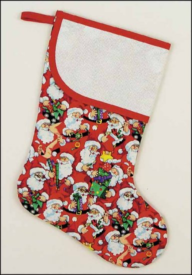 click here to view larger image of Large Red Santa's Workshop Stocking with Trim (stitchable)