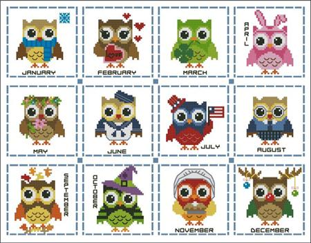click here to view larger image of Hooties Year Round Minis Collection (chart)