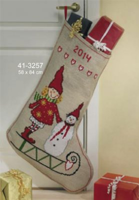 click here to view larger image of Pixie Snowman Stocking (large) (counted cross stitch kit)