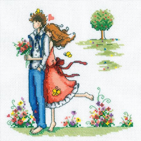 click here to view larger image of Couple in the Park (counted cross stitch kit)