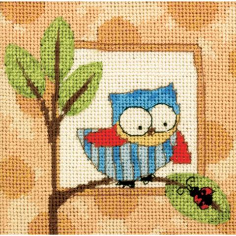 click here to view larger image of Curious Owl Mini Needlepoint Kit (needlepoint)