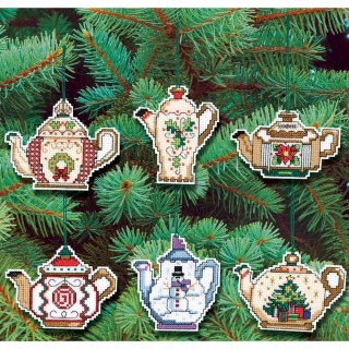 click here to view larger image of Christmas Teapot Ornaments -  Set of 6 (counted cross stitch kit)