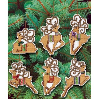 click here to view larger image of Festive Reindeer Ornaments (counted cross stitch kit)
