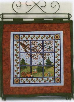 click here to view larger image of Autumn Window Quilt (chart with charms/buttons)